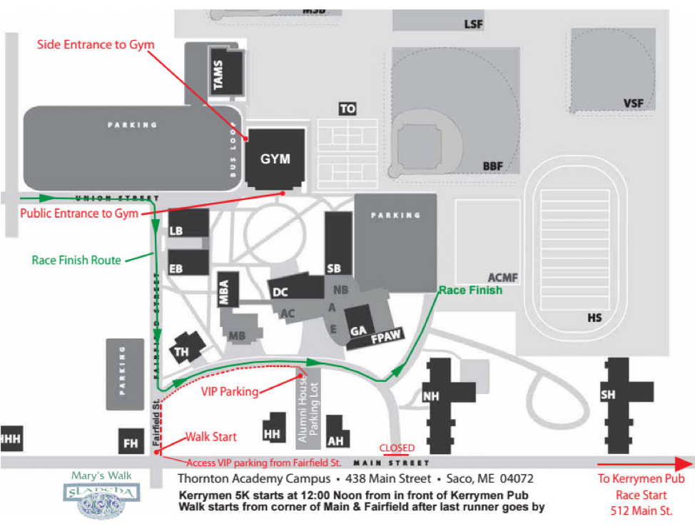 Mary's Walk Parking Map
